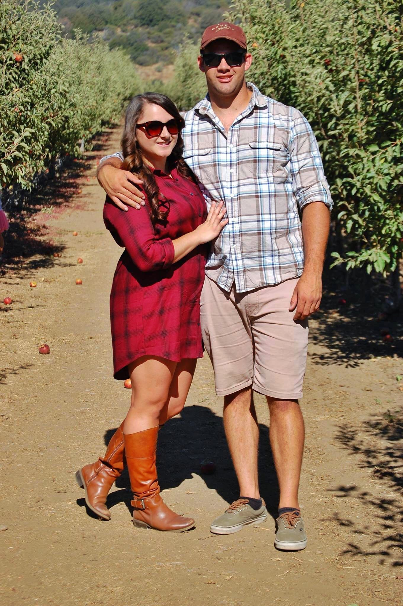 relationship goals fall apple picking | Forever21 plaid shirt dress featured by top San Diego fashion blog, The Brunette & The Beach