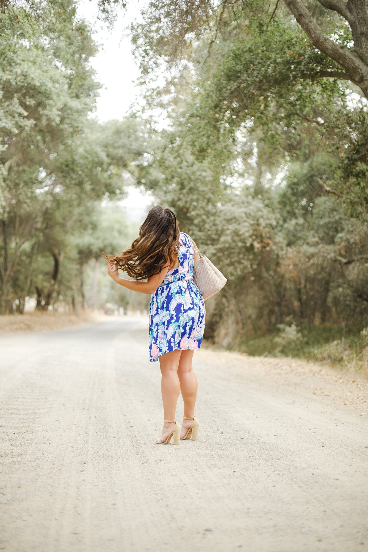 lilly pulitzer steve madden fall outfit | Lilly Pulitzer Dress styled by popular San Diego fashion blogger, The Brunette & The Beach