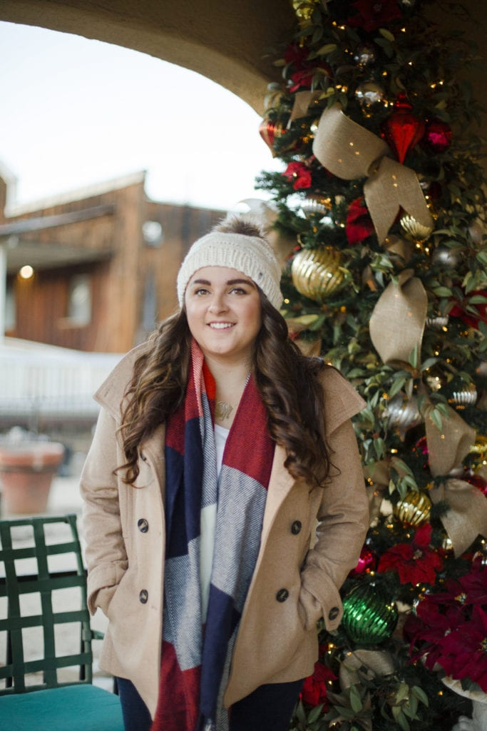 peacoat beanie christmas outfit | Warm Winter Outfit featured by top San Diego fashion blog, The Brunette & The Beach