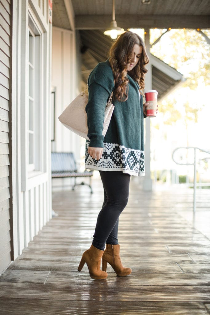 Green Sweater   Suede Boots   Thanksgiving Outfit   Instagram: @clarissaairaci