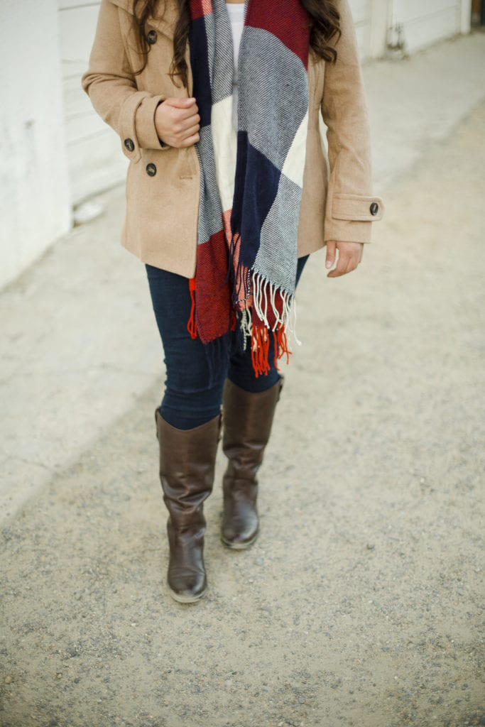 boots blanket scarf christmas outfit | Warm Winter Outfit featured by top San Diego fashion blog, The Brunette & The Beach