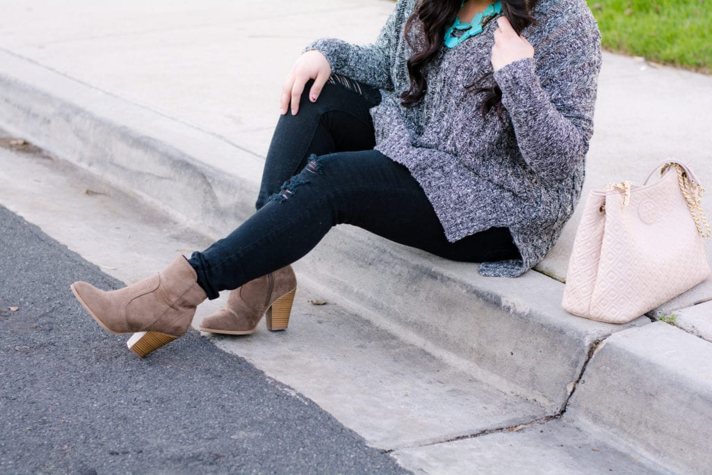 gray booties flowy gray sweater