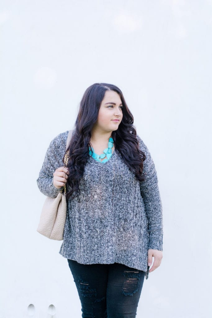 gray cardigan turquoise necklace