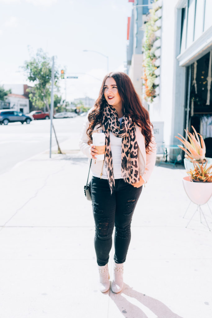 Leather Jacket Leopard Print Scarf