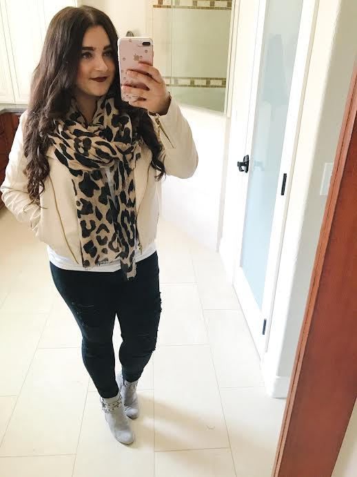 Leopard Scarf Leather Jacket |  | Cute Fall Outfits featured by popular San Diego fashion blogger, The Brunette & The Beach
