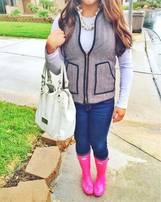 Preppy Fall Outfit Hunter Boots Vest | Cute Fall Outfits featured by popular San Diego fashion blogger, The Brunette & The Beach