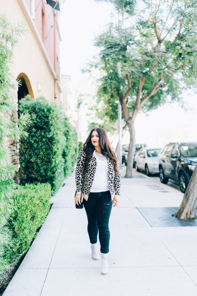 fall outfit | Leopard cardigan styled for Fall by top San Diego fashion blogger, The Brunette & The Beach