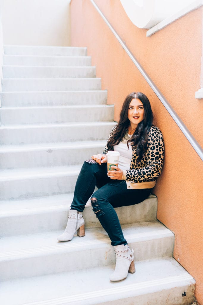 fall outfit starbucks | Leopard cardigan styled for Fall by top San Diego fashion blogger, The Brunette & The Beach
