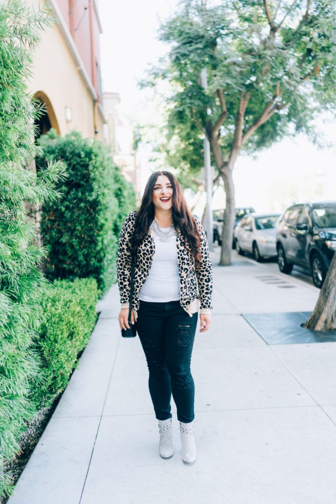 statement necklace | Leopard cardigan styled for Fall by top San Diego fashion blogger, The Brunette & The Beach