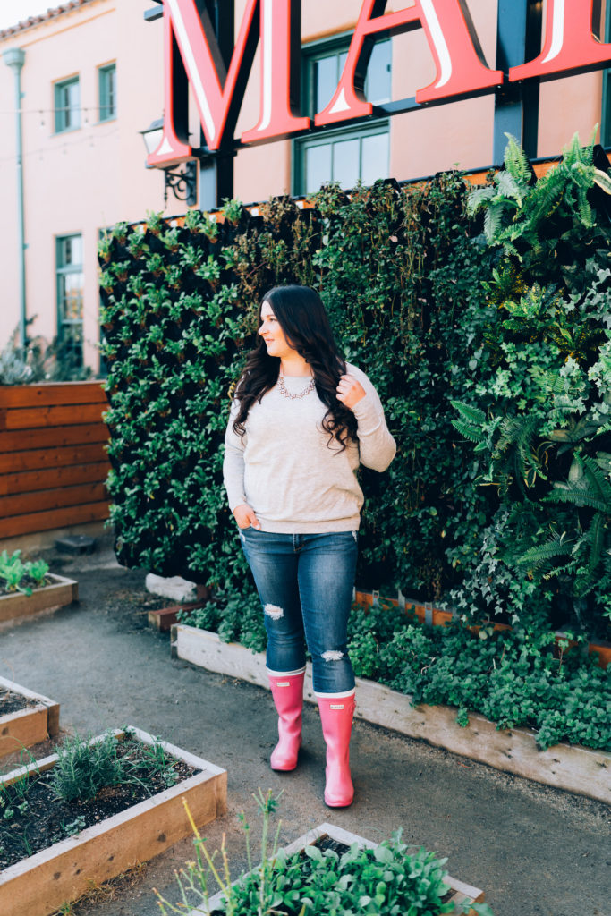 preppy pink hunter boots