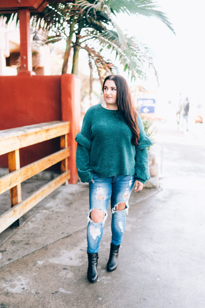 green ruffle sleeve sweater