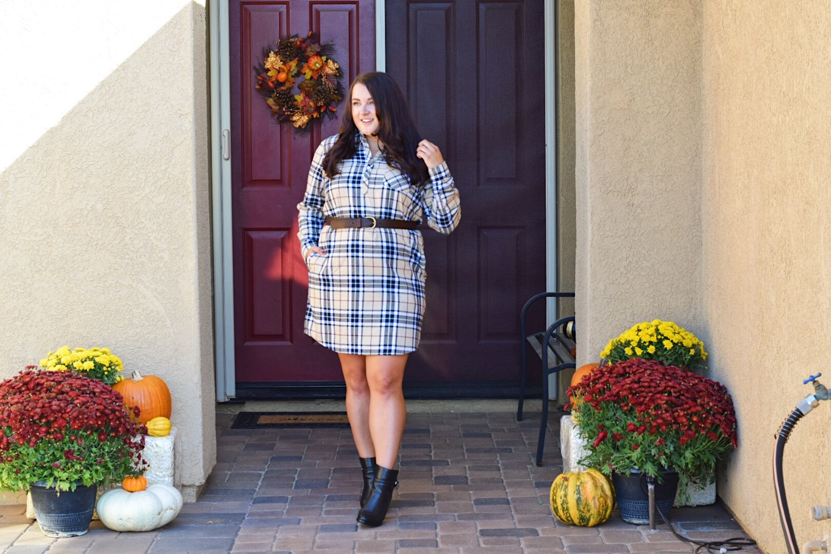 Fall outfits featured by popular San Diego fashion blogger, The Brunette & the Beach: Lauren James plaid dress