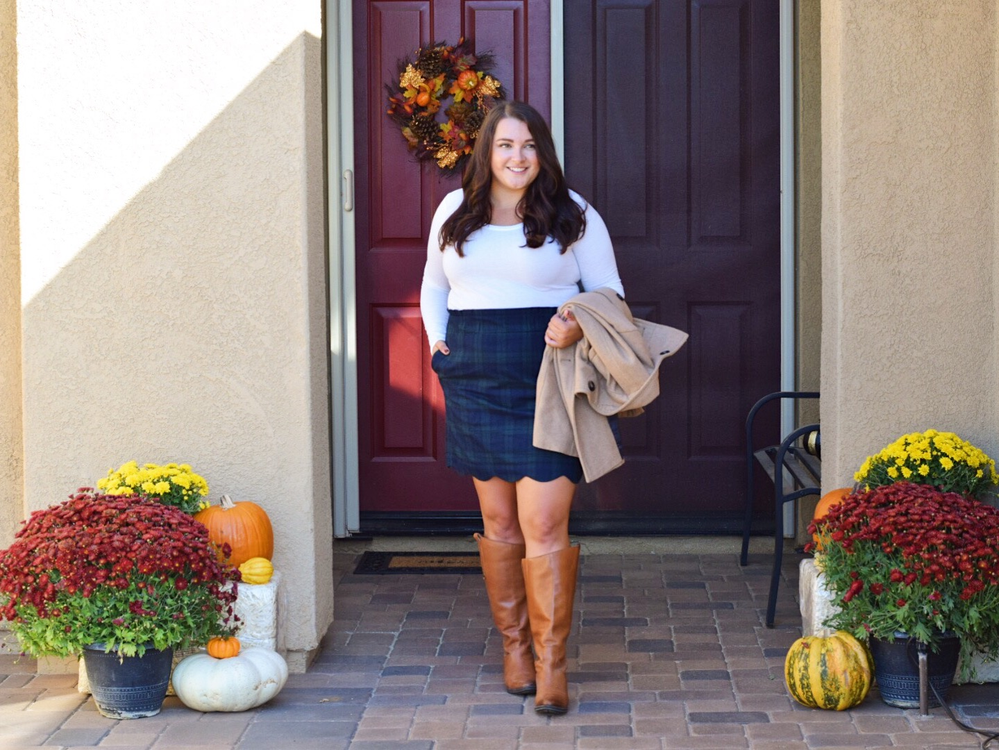 Fall outfits featured by popular San Diego fashion blogger, The Brunette & the Beach: Lauren James scallop skirt