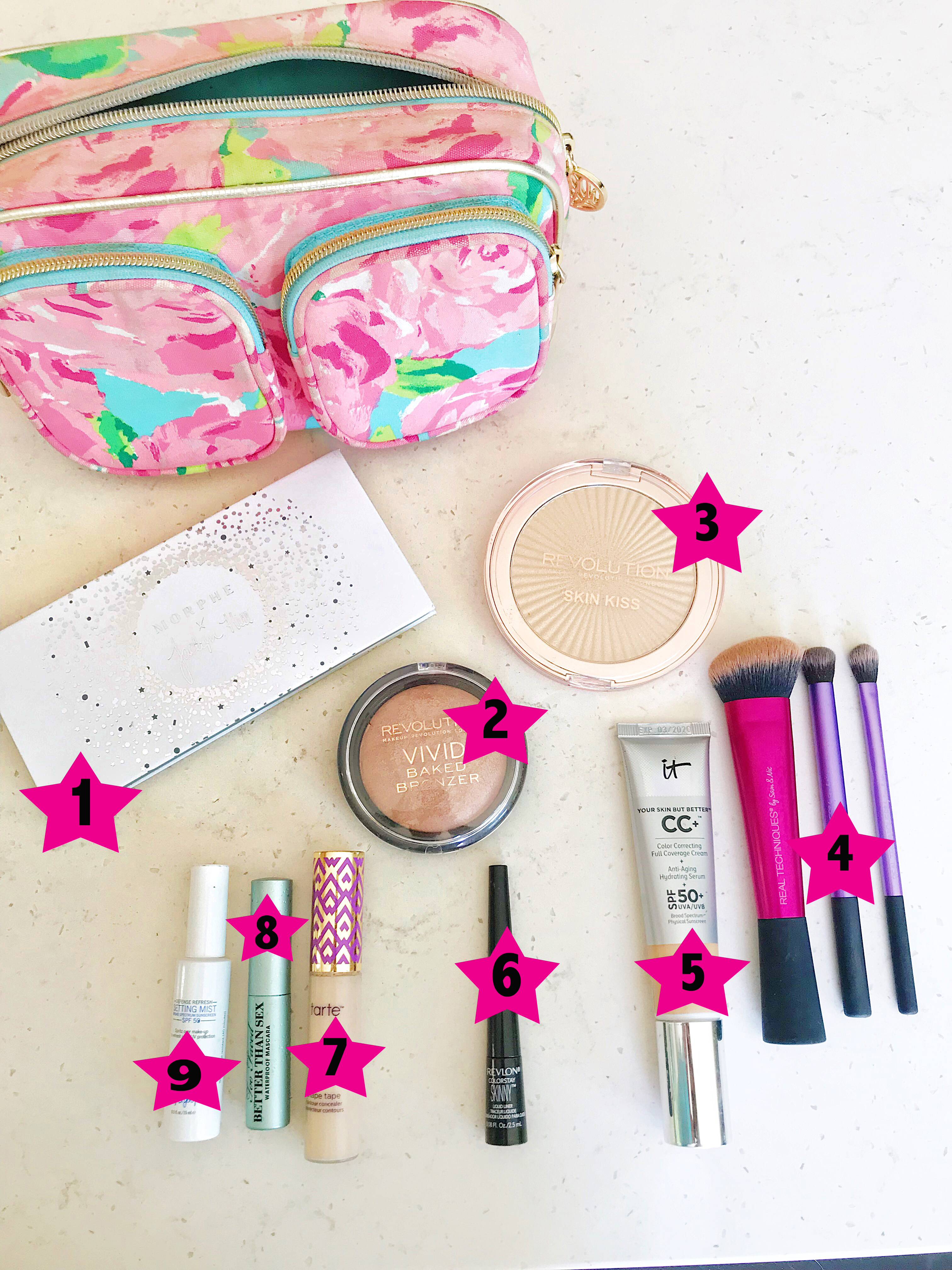 9 Travel Makeup Essentials featured by popular San Diego travel blogger, The Brunette & The Beach