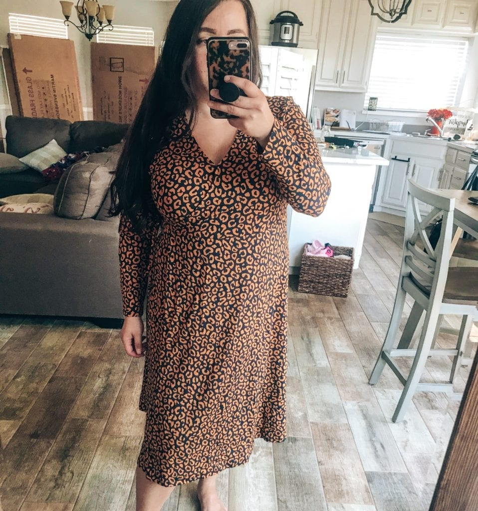 Old Navy New Arrivals for Fall featured by top US fashion blog, The Brunette & The Beach: image of a woman wearing an Old Navy leopard dress