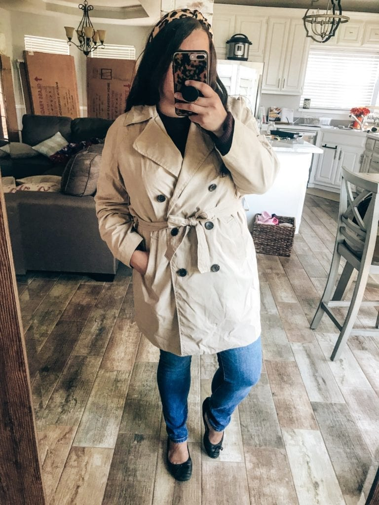 Old Navy New Arrivals for Fall featured by top US fashion blog, The Brunette & The Beach: image of a woman wearing an Old Navy trench coat