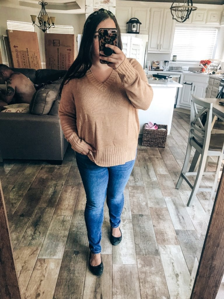 Old Navy New Arrivals for Fall featured by top US fashion blog, The Brunette & The Beach: image of a woman wearing an Old Navy V Neck sweater