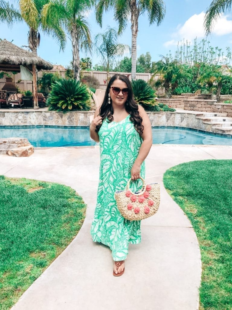 after party sale 2019 picks | Lilly Pulitzer After Party Sale 2019 PICKS by popular San Diego fashion blog, The Brunette and the Beach: image of a woman walking outside and wearing a Lilly Pulitzer dress.
