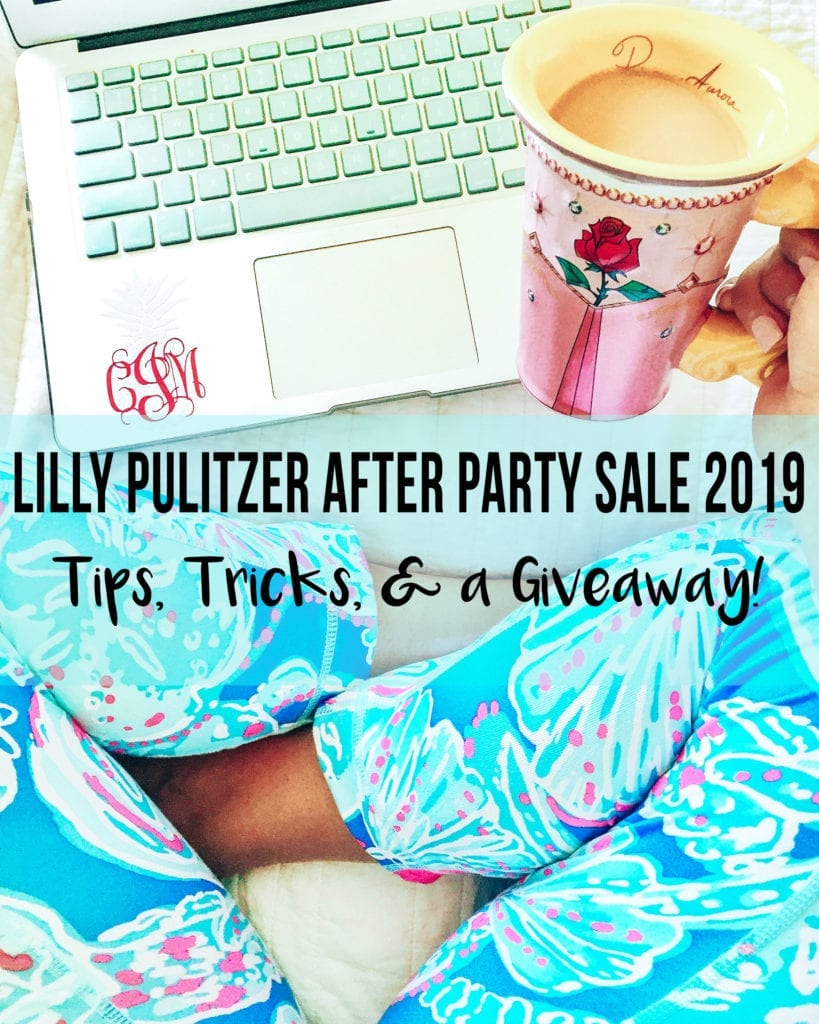 Lilly Pulitzer After Party Sale 2019 | Lilly Pulitzer After Party Sale 2019: Updated Tips + GIVEAWAY by popular San Diego fashion blog, The Brunette and the Beach: image of a woman sitting crossed legged in front of her laptop, holding a mug of coffee, and wearing Lilly Pulitzer pants.