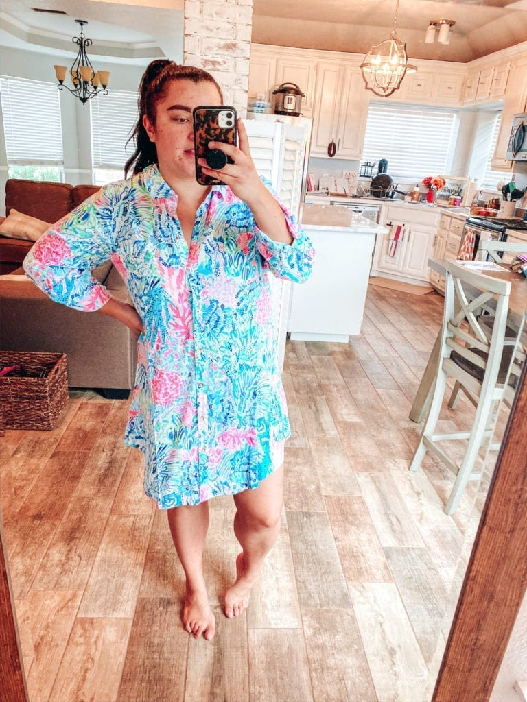 Lilly Pulitzer After Party Sale Haul by popular Southern California blog, The Brunette and the Beach: image of a woman wearing Lilly Pulitzer Natalie Coverup.