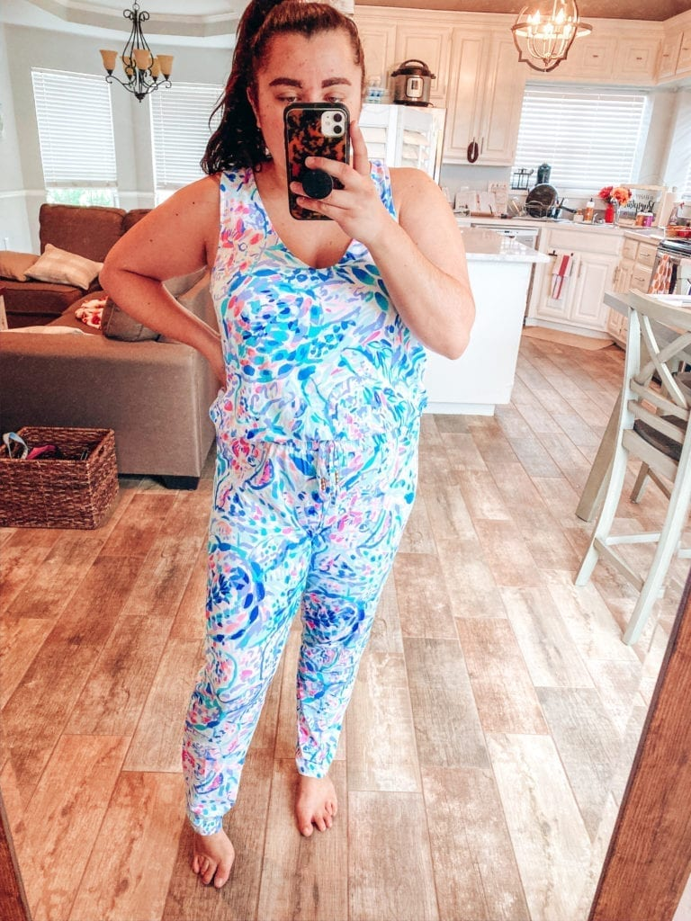 Lilly Pulitzer After Party Sale Haul | Lilly Pulitzer After Party Sale Haul by popular Southern California blog, The Brunette and the Beach: image of a woman wearing Lilly Pulitzer Paulina Jumpsuit.