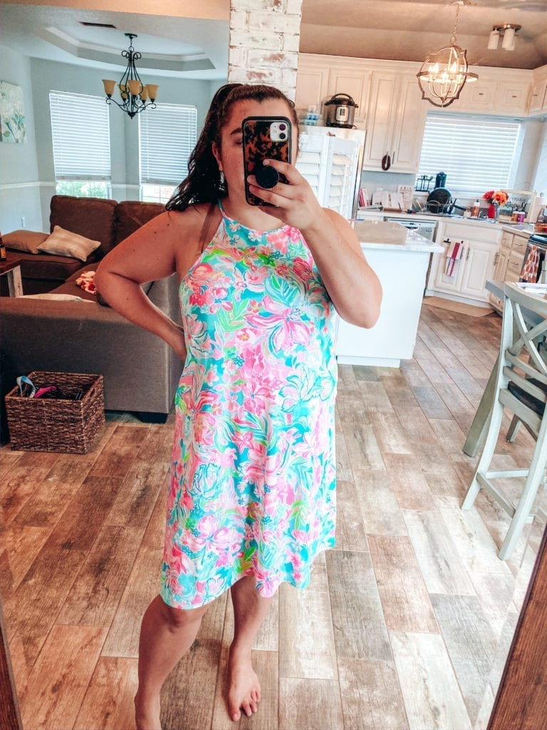 Lilly Pulitzer After Party Sale Haul | Lilly Pulitzer After Party Sale Haul by popular Southern California blog, The Brunette and the Beach: image of a woman wearing Lilly Pulitzer Margot dress.